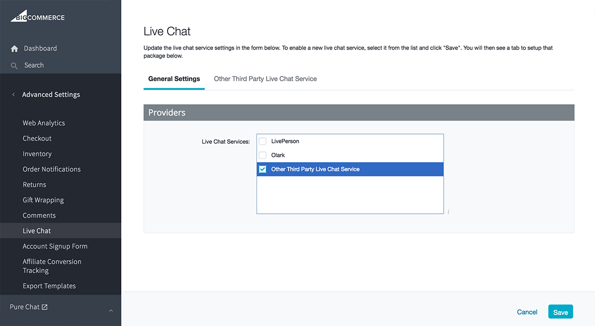 Third Party Live Chat for BigCommerce