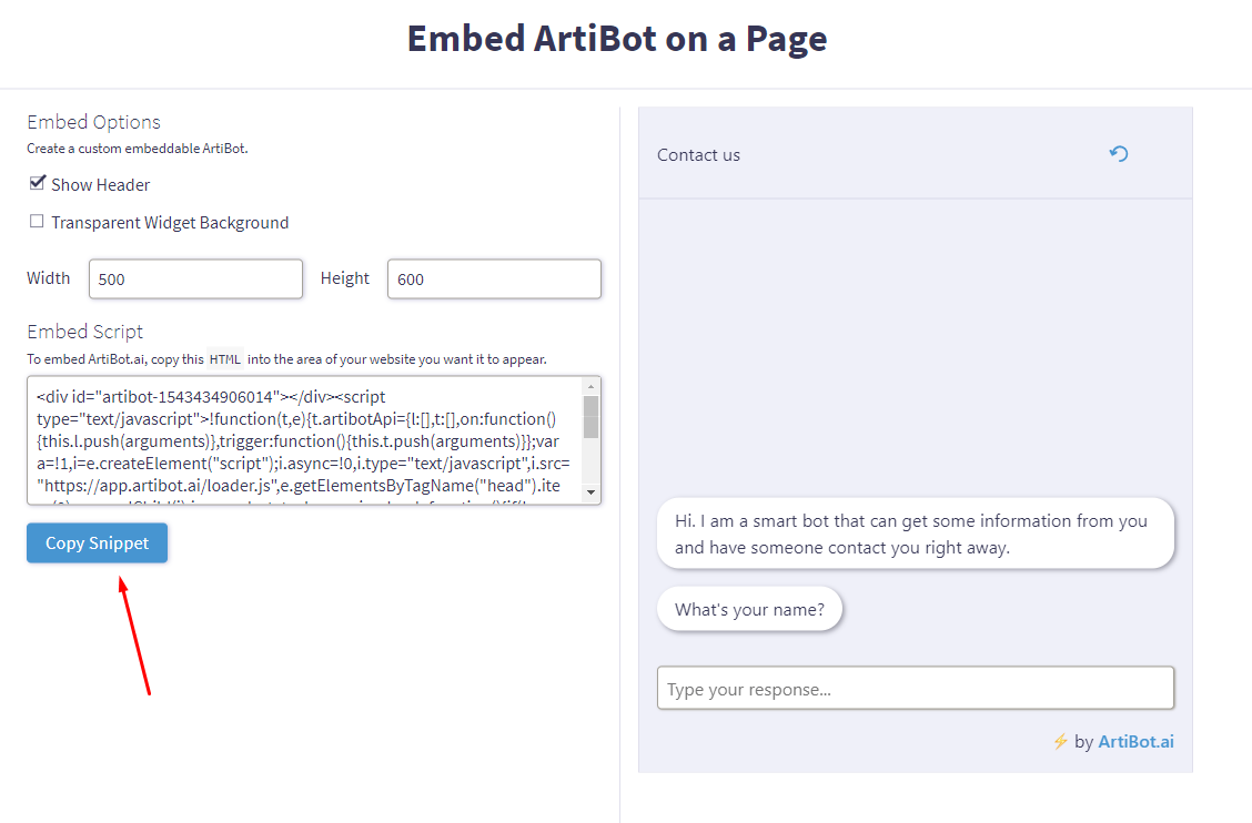 Embed ArtiBot on a Page