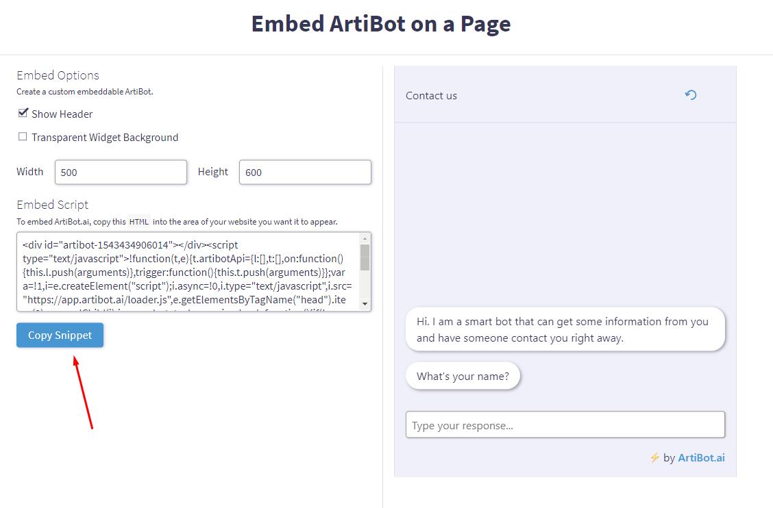 Embed ArtiBot on a Godaddy Page