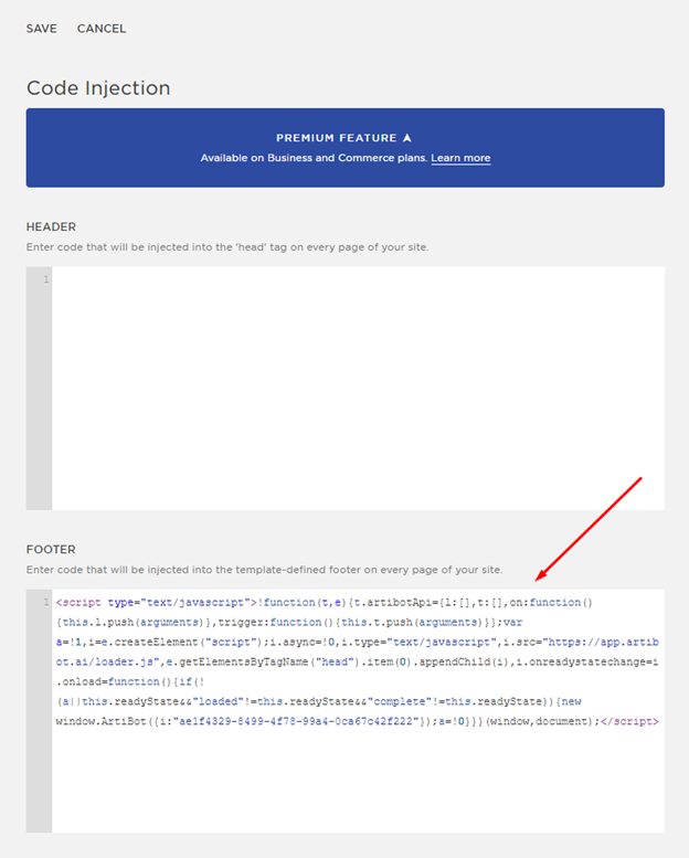 Paste chatbot code into the footer