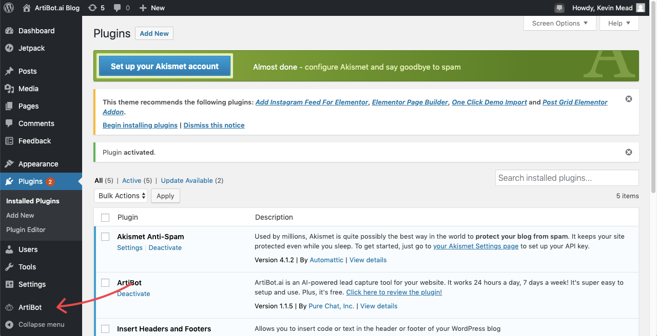Click ArtiBot in Wordpress