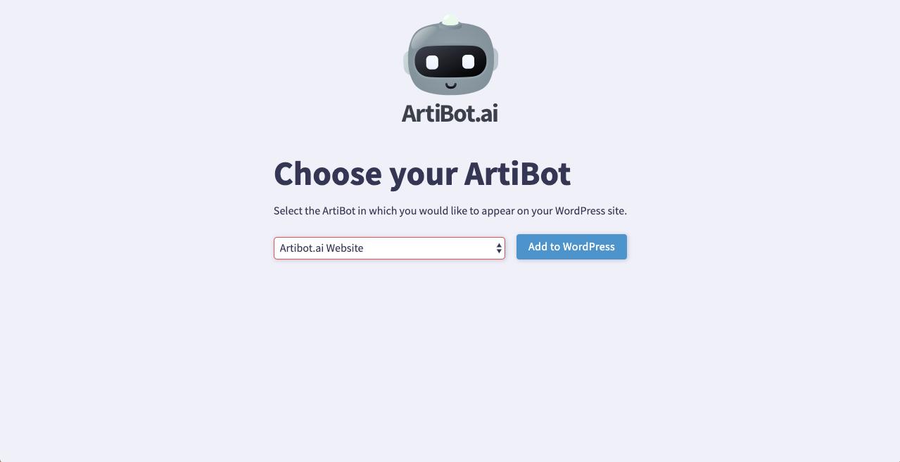 Select an ArtiBot