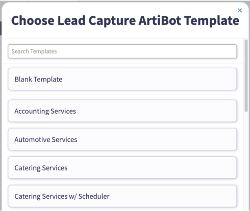 Choose free chatbot template